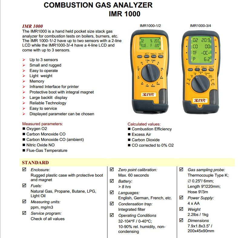 spesifikasi COMBUSTION GAS ANALYZER IMR 1000
