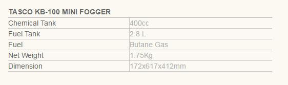 Spesifikasi-Tasco-kb-100 Jual Mesin Fogging Tasco KB 100