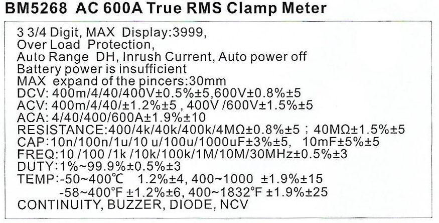 Spec-5268-AC600A JUAL CLAMP METER TRUE RMS BM5268 AC 600 A