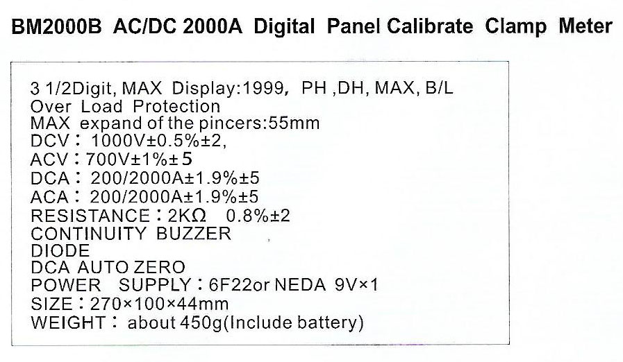 Spec-BM2000B-AC2000A jual clamp meter digital panel calibrate sanfix