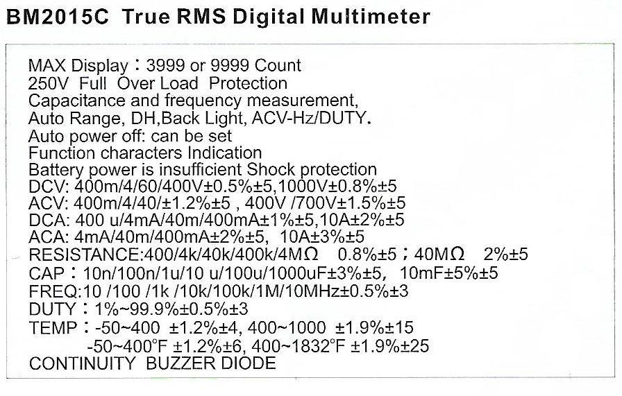 Spec-BM2015C jual sanfix digital multimeter