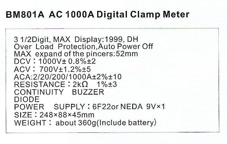 Spec-BM801A-AC1000A jual digital clamp meter sanfix