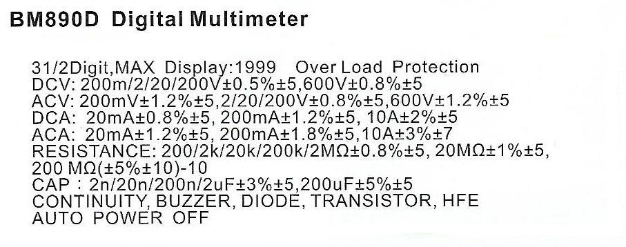 Spec-BM890D jual digital multimeter sanfix bm890d