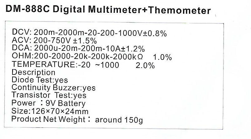 Spec-DM-888-C jual digital multimeter sanfix