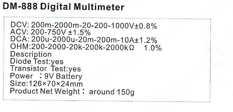 Spec-DM-888 Jual Digital Multimeter Sanfix DM 888