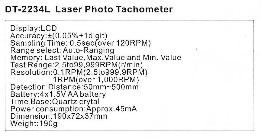 Spec-DT-2234L Jual Laser Photo Tachometer Sanfix DT2234L
