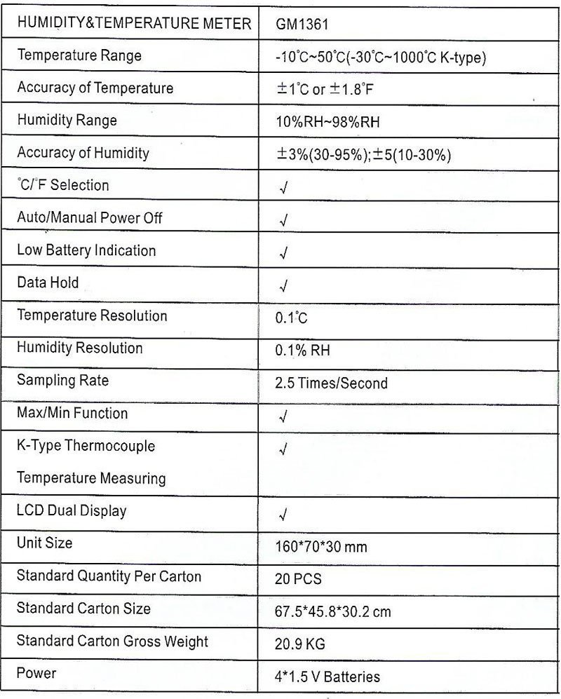 Spec-GM1361 Jual Temperature Meter