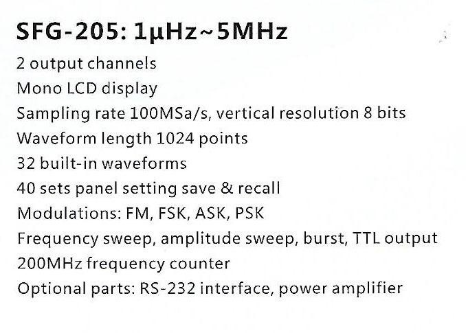 Spec-SFG-205 Jual Generator Function Sanfix