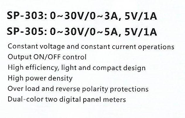 Spec-SP303-SP305 JUAL DC POWER SUPPLY SANFIX SP303