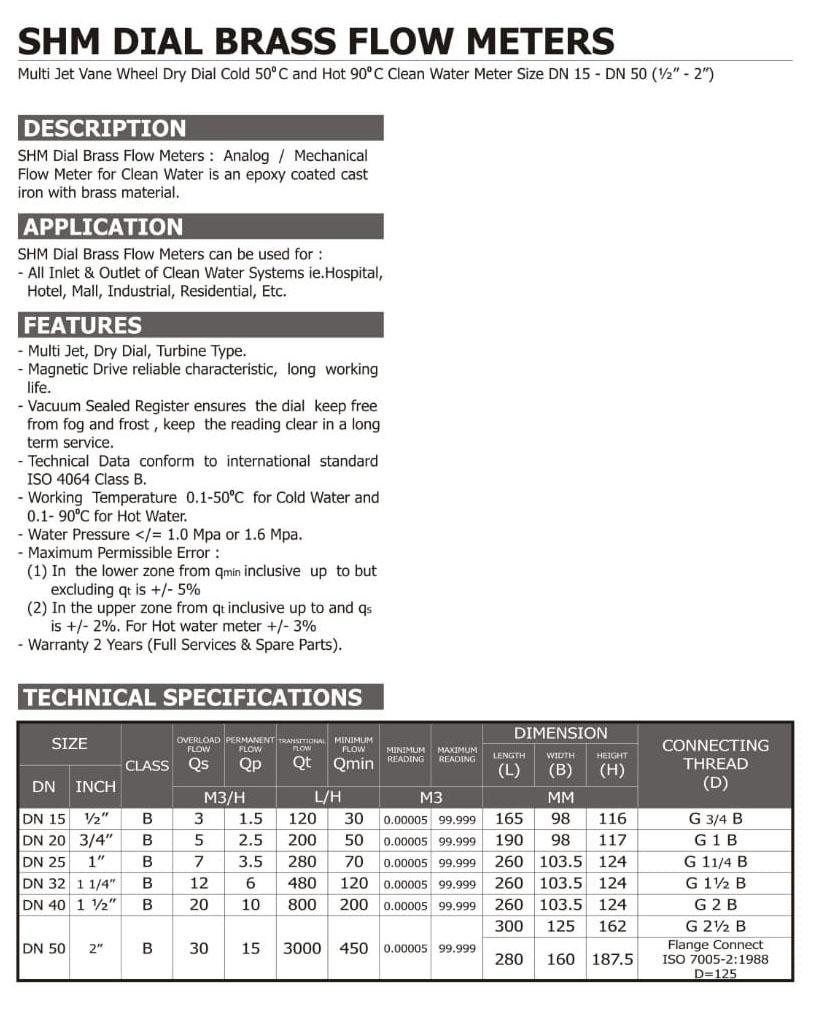 Spec-SHM-Dial-Brass Harga Flowmeter SHM Kuningan