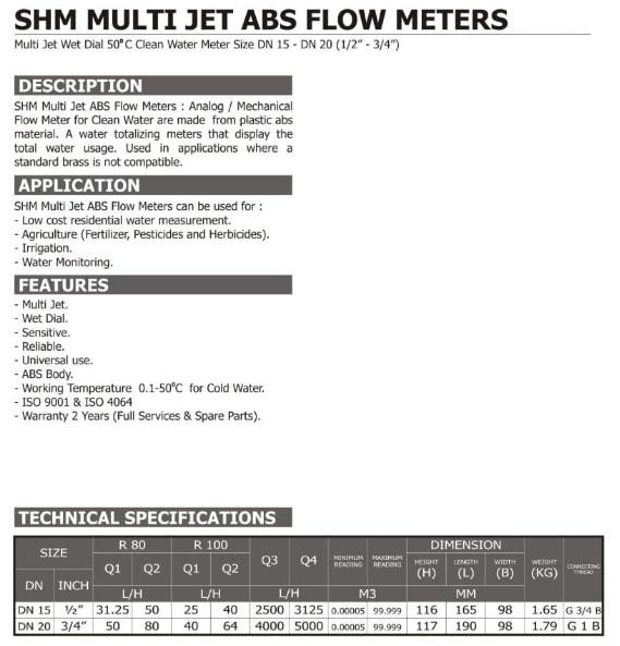 Spec-SHM-MultiJet-Hitam Jual Flowmeter Multijet SHM